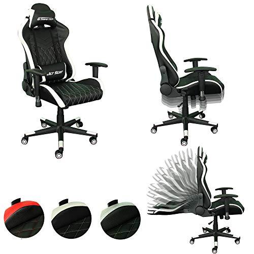 Rapid Teck® Bürostuhl Gaming Schwarz/Weiß JetSeat Chefsessel Schreibtischstuhl Drehstuhl Race Chair Sportsitz Racing Stuhl PU mit verstellbaren Armlehnen und Wippfunktion, Kunstleder gesteppt