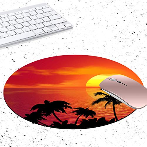 Gaming Mouse Pad, Palm Trees in Seaside Sunset Non-Slip Rubber Circular Mouse Pads Customized Designed for Home and Office, 7.9 x 7.9inch