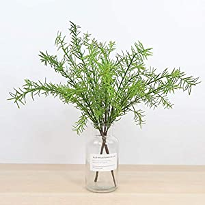 Artificial and Dried Flower 4pcs Simulated Green Plant Leaves Bushes Evergreen Shrubs Artificial Rosemary Flower for Home Garden Supply Wedding Decoration
