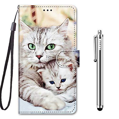 idatog für Xiaomi Redmi 8A Hülle, PU Leder Flip Klappbar Lederhülle Schutzhülle des Bunt Muster Wallet Cover Flip Hülle Handyhülle mit Magnetverschluss Kartenfach Tasche Etui (Katze 2)