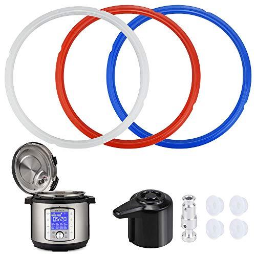 FAVENGO 3 Stück Dichtungsring Schnellkochtopf Silikon Dichtungsrin Durchmesser 24cm Sealing Ring mit 4 Versiegelungsmittel, 1 Schwimmerventil, 1 Dampfreisetzventil für Küchen 5qt 6qt Schnellkochtöpfe