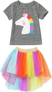 Yowablo Kleinkind Baby Mädchen Cartoon Pferd Print Tops T-Shirt  Regenbogen Tutu Röcke Outfits