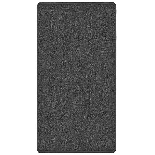 vidaXL Teppich Getuftet Kurzflor Flachflor Bodenteppich Läufer Teppichläufer Wohnzimmerteppich Pflegeleicht 80x150cm Anthrazit 3mm 360g/m²