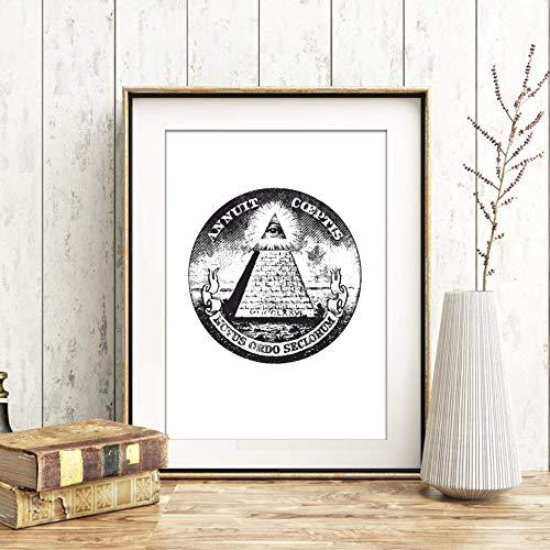Din A4 Kunstdruck ungerahmt - Symbol Illuminati - Freimaurer Kult Gothic Pyramide Wappen Druck Poster Bild