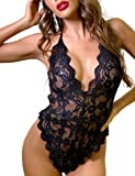 VEMO Lingerie for Women, Lace Teddy Halter Backless Bodysuit Sexy Lingerie One Piece Naughty Sleepwear (Black, S)