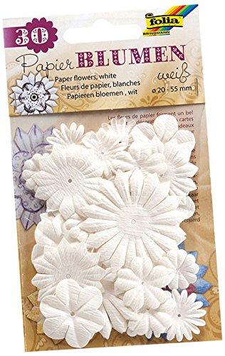 folia 12800 - Papierblumen weiß, 30 Stück, Größe ca. 2 - 5,5 cm - ideal als Tischdeko, Streudeko, zur Hochzeit, Party, Feier
