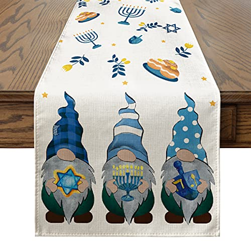 Artoid Mode Blue Gnomes Happy Hanukkah Table Runner, Jewish Menorah Chanukah Holiday Kitchen Dining Table Decoration for Indoor Outdoor Home Party Decor 13 x 72 Inch