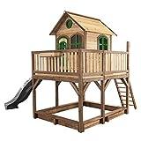 AXI Liam Maison Enfant avec Bac à Sable & Toboggan Gris | Aire de Jeux pour l'extérieur en Marron & Vert | Maisonnette / Cabane de Jeu en Bois FSC