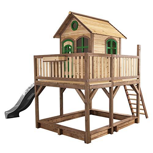 AXI Spielhaus Liam mit Sandkasten & grauer Rutsche | Stelzenhaus XXL in Braun & Grün aus FSC Holz für Kinder | Spielturm mit Wellenrutsche für den Garten