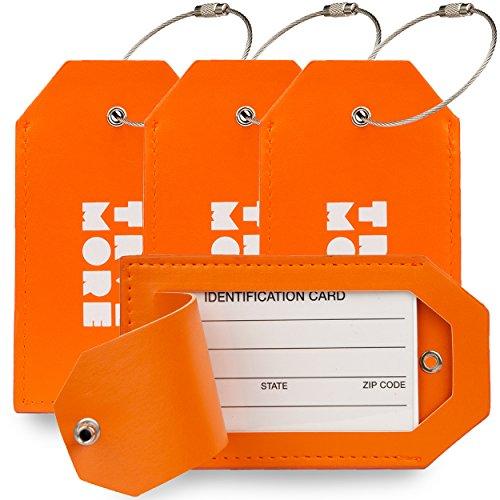 Leren Kofferlabel - Luxe Bagage Label van Leer voor Bagage, Koffers en Tassen - Reislabel - Adreslabel - Luggage Tag met Privacy Cover - Voor Mannen en Vrouwen