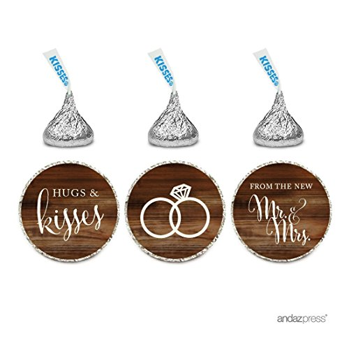 Andaz Press Chocolate Drop Labels Stickers, Wedding Hugs & Kisses from The New Mr. & Mrs, Rustic Wood Print, 216-Pack, for Bridal Shower Engagement Hershey's Kisses Party Favors Decor