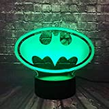 DC Series Movie Multi-Colored Legend Justice League Batman Logo 3D RGB Lamp LED Night Light USB Touch Remote Base Change Desk Table Boy Gift Visual Illusion Optical Child Kid Toy(Batman Logo)