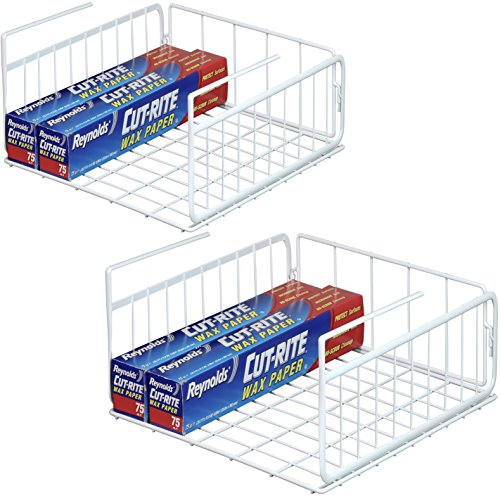 2 Pack - SimpleHouseware Under Shelf Basket White
