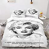 NICHIYO Marilyn Monroe 3-Piece Duvet Cover Set Bedding Set Ultra Soft Reversible Breathable 3D Printed Microfiber Comforter Protector Bed Cover Set Pillowcases (07,Twin)