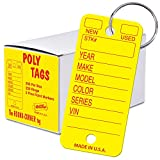 Versa-Tags Poly Key Tags Tear Proof Design Perfect for Car Truck Or RV Dealerships 250 Per Box (Yellow)