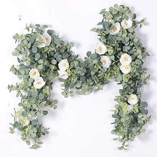 Peoxio Künstliche Eukalyptus-Girlande mit Champagner-Rosen-Grün-Girlande Eukalyptus-Blätter Hochzeits-Hintergrund-Wand-Dekor (weiße Rose)