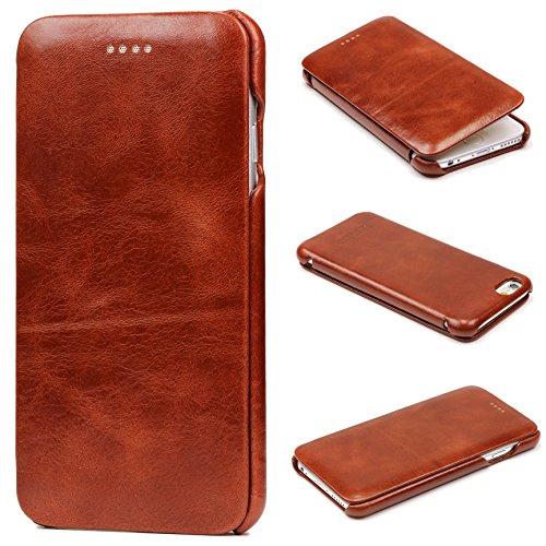 Urcover iCareR® Curved Edge Vintage Tasche kompatibel mit Apple iPhone 6 Plus / 6s Plus Case Schutz Hülle Cover Braun