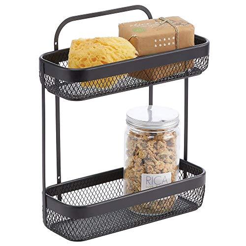 mDesign Práctico estante para el baño estrecho – Pequeña estantería de ducha con 2 cestas – Elegante estante organizador de metal resistente para el champú, el jabón o las toallas – negro