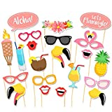 TOAOB 21 Stück Flamingo Hawaii Party Foto Fotorequisiten Fotoaccessoires für Sommer Strand Geburtstag Hochzeit Party Photo Booth Props Set