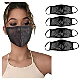 4PACK Mesh Face_Mask for Women Breathable,Andees Adult Fashion Cute Reusable Washable Hollow Mesh Face_Masks Breathable Comfortable Decorative for Party Indoor Outdoor Girls Women Men (C3/4PC)