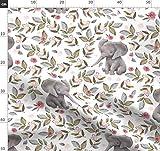 Elefant, Baby, Kinderzimmer, Rosa, Blumen Stoffe -