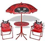 Festnight Muebles de Jardín Infantil con Sombrilla para los Niños Rojo