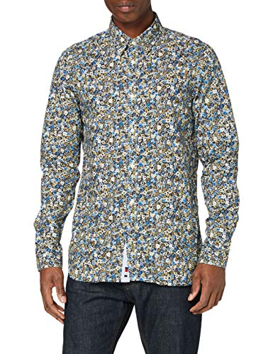 Tommy Hilfiger Herren Slim Textured Floral Camo Shirt Hemd, Country Ivory/Multi, L