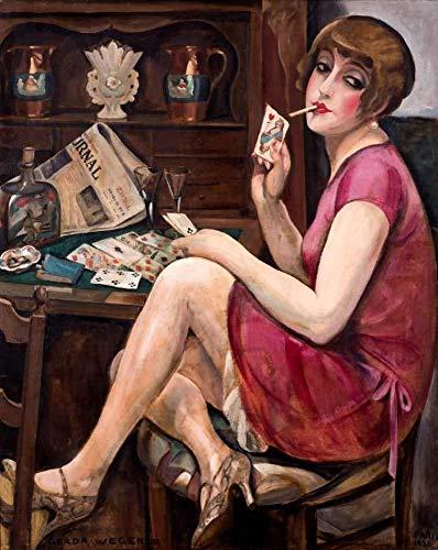 A Rainha de Copas de Gerda Wegener - 50x62 - Tela Canvas Para Quadro
