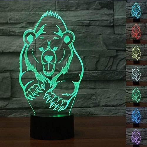 3D Lámpara de Luz de Noche Xiong Ping para sala de estar, cama, bar, regalo juguetes para niños y niñas Con interfaz USB, cambio de color colorido