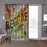 YUAZHOQI Cortinas divisoras de habitación insonorizadas, rasta, mapa del mundo Reggae cita, 100 x 108 pulgadas de ancho persianas de privacidad para patio (1 panel)