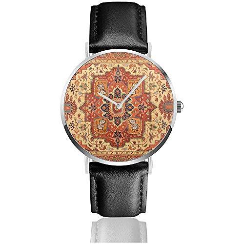 Relojes de Pulsera de Cuero de Acero Inoxidable con Alfombra Persa Relojes...