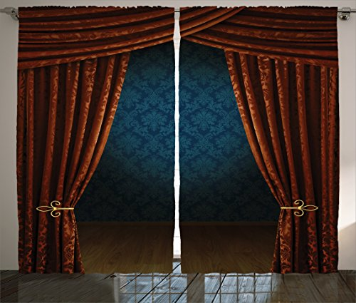"""Ambesonne Victorian Curtains, Grand Opening Showroom with Retro Pattern Wall Classic Stage Theatrical, Living Room Bedroom Window Drapes 2 Panel Set, 108"""" X 90"""", Burgundy"""