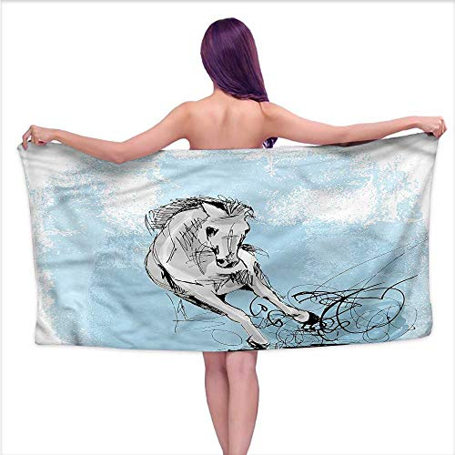 Aurauiora Bath Towels Horse,Hand Drawn Sketch of a Mare,W10 xL39 for Kids Mickey Mouse