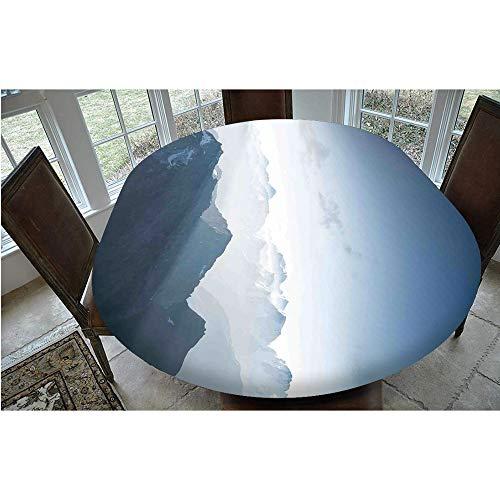 Mantel resistente a las manchas, borde elástico, para mesas ovaladas o Olbong de 61 x 122 cm, perfecto para protección de mesa, color azul suave