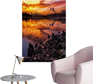 Anzhutwelve Landscape Painting Post USA Missouri Kansas City Scenery of a Sunset Lake Nature Camping Themed Art PhotoMulticolor W20 xL28 Custom Poster