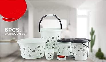 Tiles Palace Plastic Bathroom Bucket, Mug, Stool, Soap Case, Tub and Dustbin (Medium, White and Black) -Set of 6 Pieces