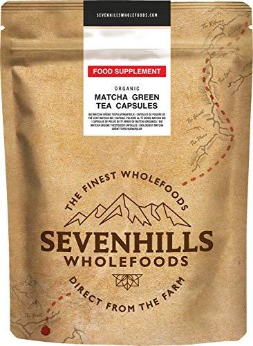 Sevenhills Wholefoods Matcha Organica Capsulas en polvo de te verde 500mg x 120