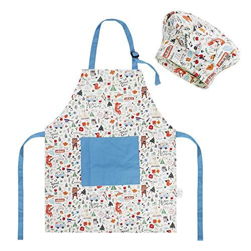 JIAHG Mignon Tablier de Cuisine en Coton Anti-fouling pour Enfants avec Motif de Chat Dessiné - Qualité Supérieure - Ideal pour pour la Peinture Cuisine Artisanat Cadeau (Bleu)