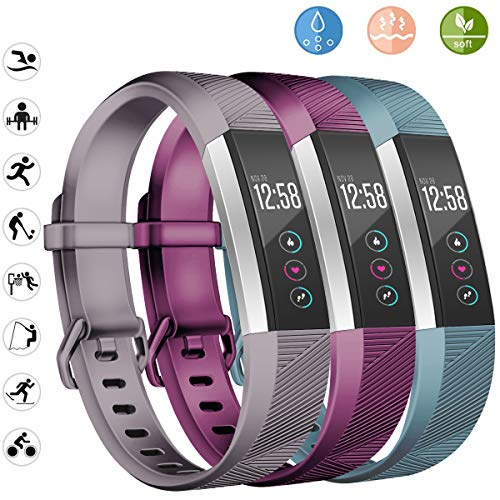 Wekin Replacement Bands Compatible for Fitbit Alta and Alta HR, Breathable Woman Men Adjustable Strap Wristbands Bracelets with Secure Buckle for Smartwatch Tracker Small Large 3 Pack