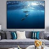 Póster Pintura de la Lona Arte de la Pared Animal Print Dolphin Blue Ocean Imagen de la Pared para la Sala de Estar decoración del hogar-Sin Marco