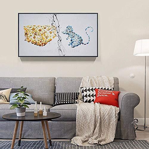 AFASSW handgeschilderde olieverfschilderij op canvas kunstenaar puur handwerk grappig design muis en kaas olieschilderij op canvas modern abstract mooie olieschilderij voor woonkamer 50×100cm(20×40 inch)