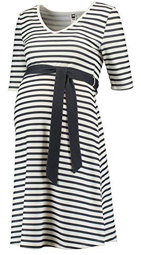 Love2Wait Umstandskleid Dress Striped Navy-Off White Damen Kleid Dress C161016 (S 34-36)