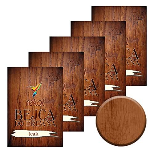 5x18g Holzbeize Möbelbeize Trockenbeize Holzfarbe Pulverbeize große Farbauswahl, Farbe:teak