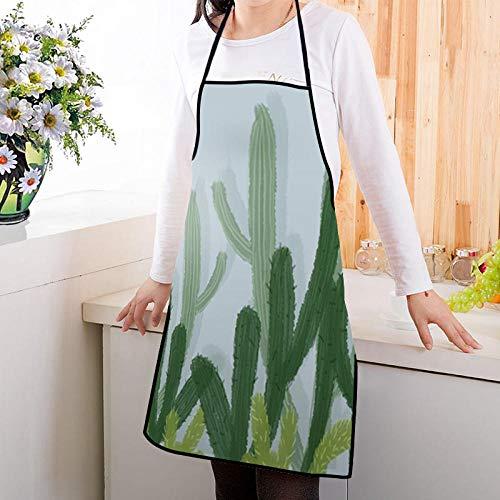 ZHOUBINBIN Delantal,Planta Apron Tropical Planta Verde Cactus Hombres Mujeres Apron Cocina Restaurante...