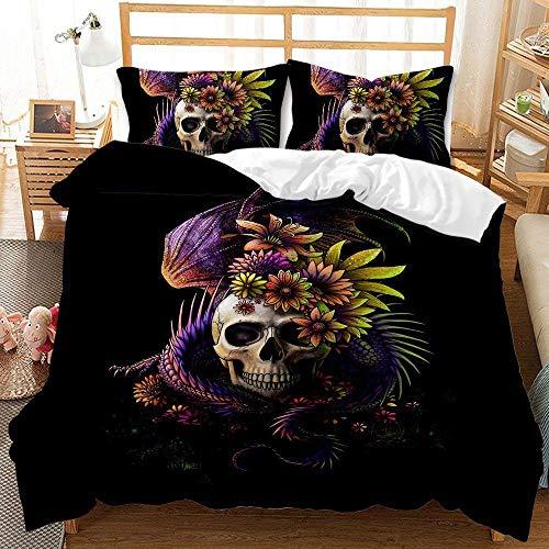 Bedclothes-Blanket Juego de sabanas Cama 90 Juveniles,Conjunto de colchas de impresión Digital Moda de Personalidad de Tres Piezas 骷髅-11_200 * 230cm