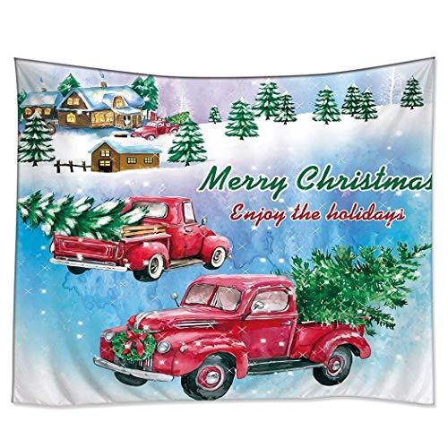 N\A Tapiz Decoraciones para el hogar Arte Colgante de Pared Tapices Hippie Feliz Navidad Camión Rojo Árbol de Coche