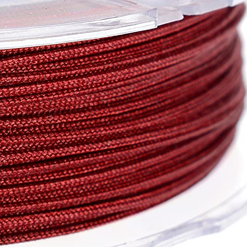 SHHMA Hilo De Nylon Cordón De Nylon Cuerda Trenzada Adecuado para Tejido, Artesanía Y Embalaje,Wine Red