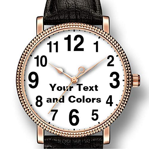 Persoonlijkheid Kunst mannen Goldtone Horloge Quartz Lederen Casual Horloge-426.Horloges met grote cijfers met uw tekst en kleuren