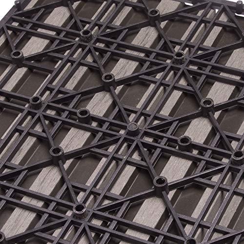 WOLTU GTF002hco WPC Terrassenfliesen Terrassendielen Fliese in Holzoptik Bodenbelag mit klicksystem Coffee (11 Stück / 1 m²) - 5