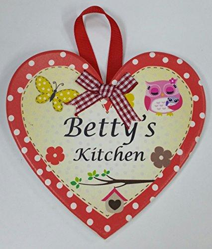 Betty nommé personnalisé en forme de cœur Kitchen Plaque magnétique par Sterling effectz
